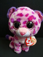 """Nwt Ty Beanie Boos 6"""" Glamour Leopard Pink Wild Cat Plush Boo 2013 Sparkly New"""