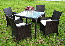 LA Black Rattan Garden Seater Dining Set Chair Table Glass Patio Furniture New