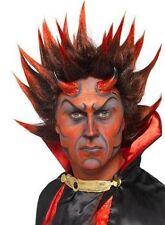Uomo Vestito per Halloween Punky Demonio Parrucca con Punte Rosso/Neri Nuovi Da
