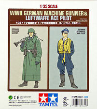Tamiya 89641 WWII German Machine Gunner & Luftwaffe Ace Pilot 1/35 Scale Kit
