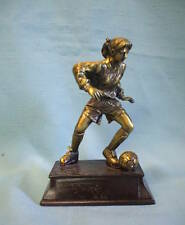 Female Soccer statue trophy resin gold tone