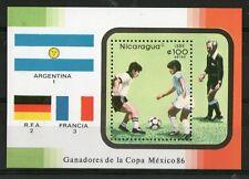 NICARAGUA 1986 MEXICO FOOTBALL WORLD CUP MINIATURE SHEET MNH