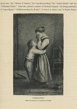 ANTIQUE GIRL CRYING WEEPING CHILD BOY COMFORTS CONSOLATION EMBRACE OLD ART PRINT