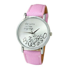 Fashion Womens Watches Leather Who Cares I am Late Anyway Letter Pink Wristwatch