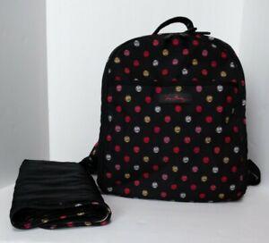 Vera Bradley Lighten Up Baby Backpack Havana Dots Book Bag Black