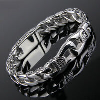 Men Titanium Steel Polished Heavy Huge Curb Link Chain Wristband Bracelet Bangle