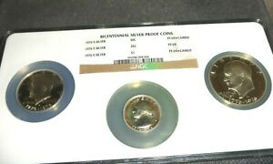 3 piece set 1976 S US Bicentennial Silver Proof Coins NGC PF 69 Cameo w/ Toning