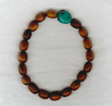 Turquoise and Wooden Bead Stretch Bracelet - New