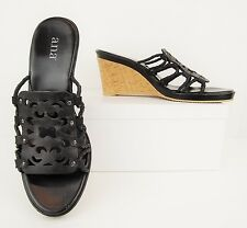 A.N.A. Black Leather Cork Platform Wedge Heels Open Toe Mule Sandals 8.5M (S459)