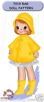"Little Girl Rag Doll Pattern Rain Coat 16"" Vintage  - 3 dimensional No. 7219"