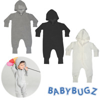 BABY ALL IN ONE HOODED ZIPPED ZIP KANGAROO POCKETS ROMPER BODYSUIT SOFT COMFORT