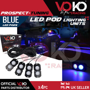 NEW UK 4pc Pods BLUE LED Rock Lights Off-road Neon Under glow Light UNITS VKOV6