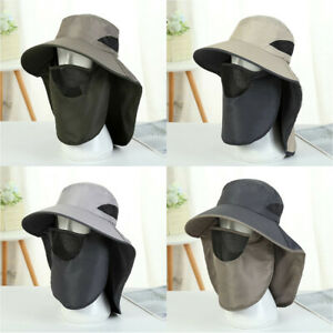 Hiking Fishing Hat Outdoor Sport Sun Protection Neck Face Flap Cap Wide Brim