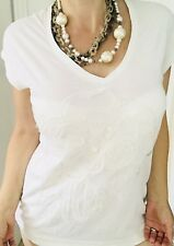 CALVIN KLEIN WOMENS FLORAL BLOUSE TOP WHITE COMFORT Sleeveless SZ L