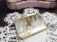 Vintage 1940's Elgin American Art Deco Compact silverplate and gold colorsa4perf