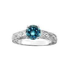 1.0 Carat Blue Round SI3-I1 Diamond Solitaire Wedding Bridal Ring 14K WG ASAAR