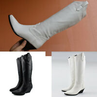 Women Western Knee High Boots Pull On Pointed Toe Riding Boots Chunky Mid Heel