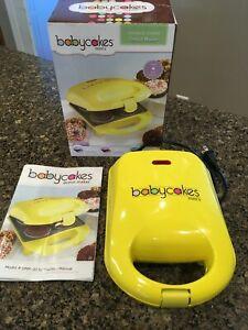 The Original Babycakes Mini's Donut Maker Yellow Non Stick Excellent
