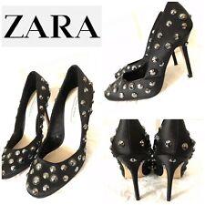 Zara Woman Celeb Shoes 5 38 Black Satin Studded Shoes High Heels