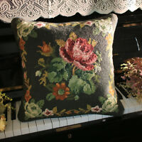 1.1'Retro Victorian Floral Needlepoint Pillow Hand Woven Roses Sunflowers