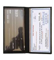 Black Genuine Leather Plain Standard Checkbook Cover Long Wallet Men Women