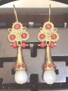 Bohemian Artist Handmade Coral & White Stone Dangle Drop EARRINGS