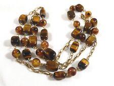 "Fashion Genuine Tiger Eye stone beaded link necklace 48"""