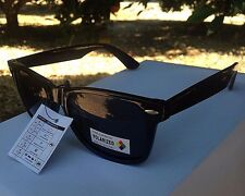 Mens Sunglasses Polarized WF Black Gloss Square Original Retro Style Generic 53