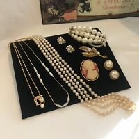vintage jewellery job lot Enamel Faux Pearl Gold Tone Necklace Brooches Cameo
