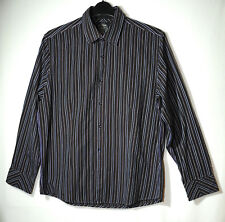 BROWN BLUE STRIPED GENTS CASUAL SHIRT SIZE LARGE SLIM FIT RIVER ISLAND COTTON