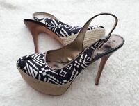 Sam Edelman Novato Platform Slingback Pumps - 8.5 Black White Jute Stiletto Heel