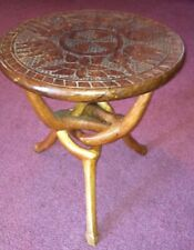 African (Wood/Carved) Table with Elephant/Flower Design with Foldable Legs-Small