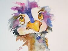 whimsical colorful ostrich bird 9x12 watercolor painting art Delilah