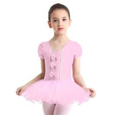 Girls Ballet Dance Dress Bodysuit Leotard Kids Gymnastics Bow Jumpsuit Costume