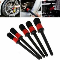 5Pcs Detailing Brush Cleaning Natural Boar Hair Brushes Car Auto Detail Tools