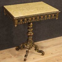Side table furniture living room antique style lacquered painted wood marble