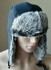 Dockers Black Faux Fur Lined Quilted Trapper Winter Hunter Outdoor Warm Hat S/M