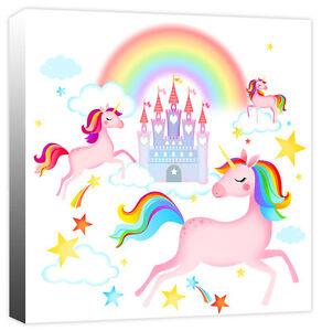 Enchanted Unicorns, Rainbow, Fairy Tale Castle & Stars Canvas Art Print Picture