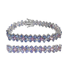 Natural Tanzanite ,Amethyst, Topaz wide link tennis bracelet sterling silver