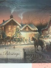 Unused Christmas Card Redlin Matching Envelope Trimming The Tree Horse Sleigh