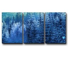 Blue Frozen Pine Tree Forest During Winter - Canvas Art Home Decor- 16x24 inches