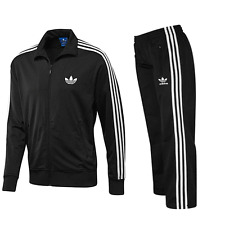 ADIDAS MENS FIREBIRD FULL TRACKSUIT TOP AND BOTTOMS BLACK/WHITE MENS SIZES