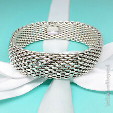 Tiffany & Co. Somerset Mesh Wide Bracelet Bangle Cuff 925 Sterling Silver #447
