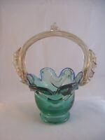 "Vintage Murano Posy Bonbon Basket Green Blue 8"" Exc Cond USA SHIP"