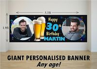 Personalised GIANT Large Happy Birthday Banner Mens Beer Larger 18th 21st N59
