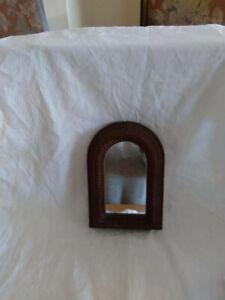 Vintage Handmade Tramp Art Wood Mirror Signed Swenarton