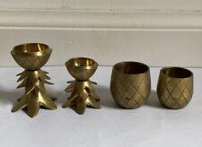 VINTAGE ANTIQUE Set of 4 Brass Candle Holders