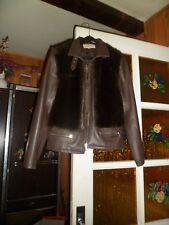 """Blouson marron femme """"Green Fashion"""". Taille L. Faux-cuir.Devant fourrure. T.L"""