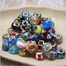 10pcs Mixed SILVER GLASS BEAD LAMPWORK Fit European Charm Bracelet about 2.5g/pc