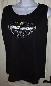 NWT JIMMIE JOHNSON #48 Womens NASCAR For Her BLACK Modest Sleeveless Sz Large